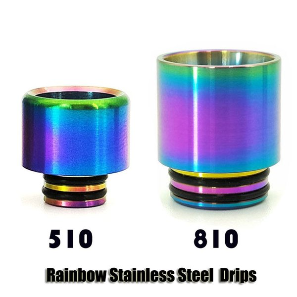 Rainbow Stainless Steel Metal 510 810 Thread Drip Tips Wide Bore Vape Mouthpiece For TFV8 TFV12 Baby Prince Tank