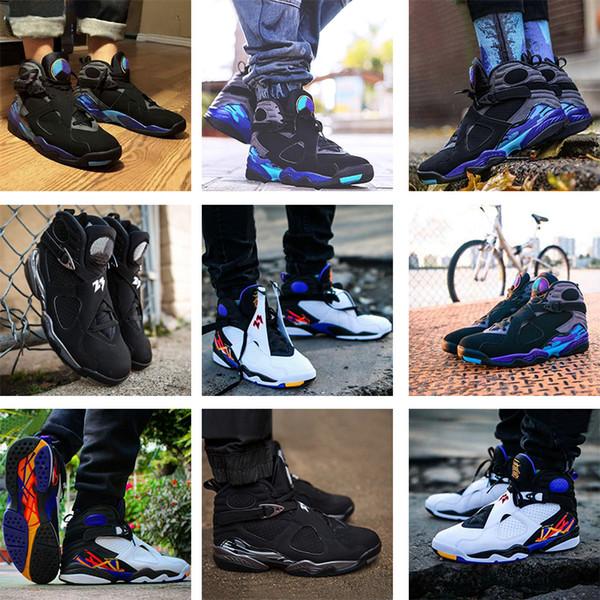 Nouveau 8 VIII 8s haute qualité Sneakers chaussures de basket-ball Aqua Chrome COUNTDOWN PACK Trois Playoff tourte hommes de sport basket-ball chaussures 41-47