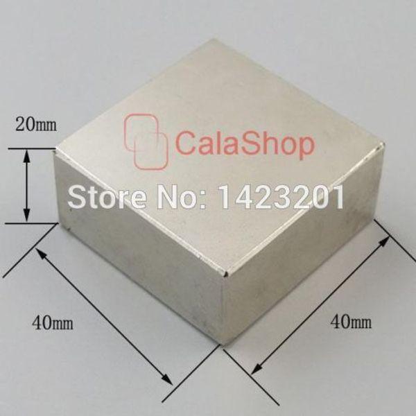 Um pcs 40x40x20 Ímãs Bloco de Neodímio N52 Disco Rare Earth Super Forte Fridge Magnet