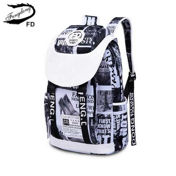 FengDong feminine fashion letters printing laptop backpack women travel bags black and white big school bags for girls bookbag