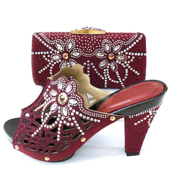 2019 New Fashion Elegant Women Shoes And Bag Set For Party Dress Summer Style High Heel Shoes And Bag Set 7Colors On Stock