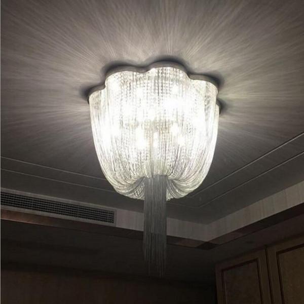 Lámparas Led Cristal Acero Compre Aluminio Cadena Inoxidable De Lujo Borlas Para Sala Postmodernas Lámpara Techo ymNnOvw80