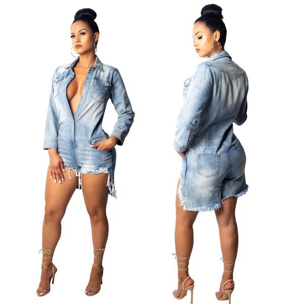 Das mulheres Sexy Jeans Curto Playsuits Para Moda Feminina Do Vintage Lavado Fino de Manga Longa Macacão Jeans Macacões Shorts XXL