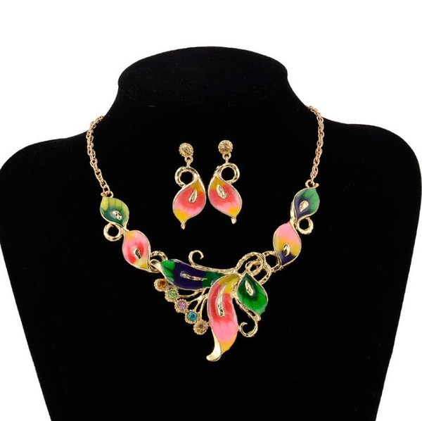 Short style necklace dripping oil color butterfly necklace earrings jewelry independent packaging fashion jewelry free shipping WQ29