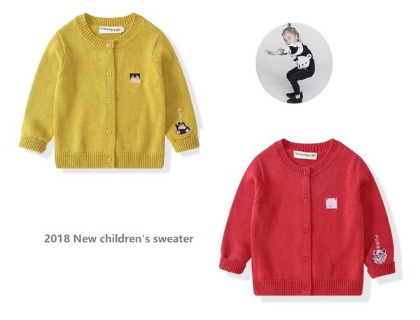 Little Girls and Boys Cute Crew Neck Button-Down Solid Fine Knit Cardigan Cotton Sweaters 2 Colors /Size 80-120