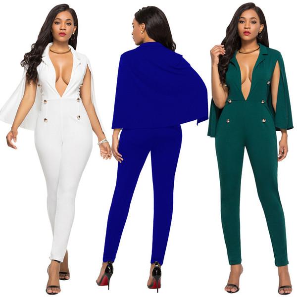 Plus Size S--3XL Six Colours Cape Style Women's Jumpsuits & Rompers,Sexy Deep V Neck,Long Pants