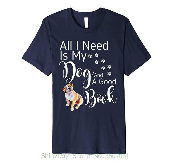 Short Sleeve Hipster Tees Dog T-shirt Reading Book Lover Shirt Old English Bulldog
