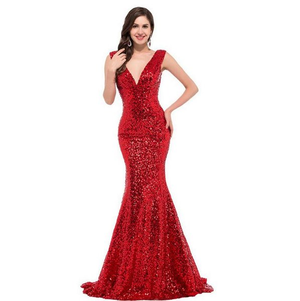Spring autumn female sequins fishtail long dress formal occasion party elegant temperament elegant high quality evening dress sexy V-neck