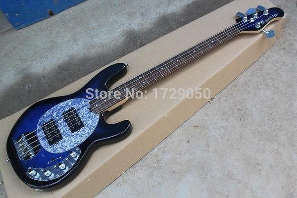 china factory custom Top Quality New Vintage Blue 4 Strings with 9V Battery Active Pickup Electric bass Guitar Free Shipping 51