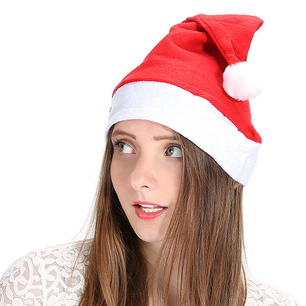 kids christmas hat gift cap non woven fabrics new year party red
