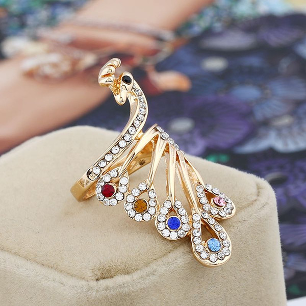 2018 Fashionable Grace Colorful Rhinestone Peacock Ring Lady Personality Alloy Hand Ornament Design Index Finger Size #16-#20