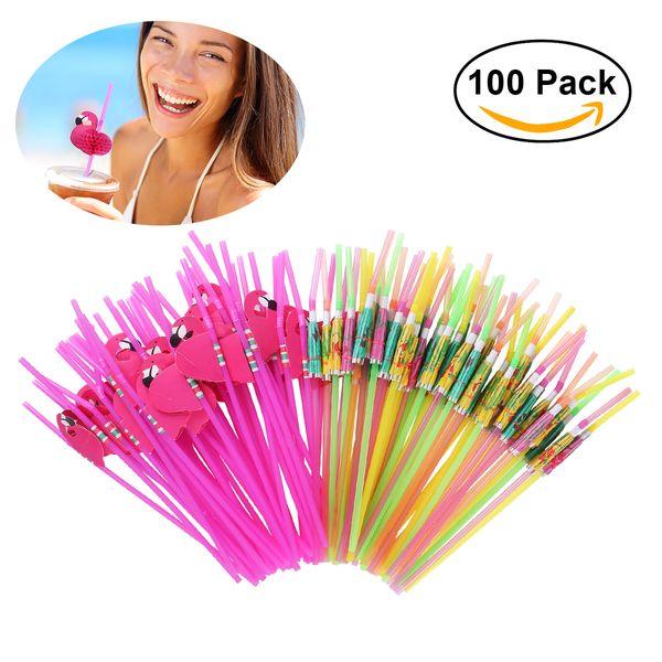 100pcs Tropical Drinking Straws Luau Wedding Hawaiian Umbrella Flamingo Flower