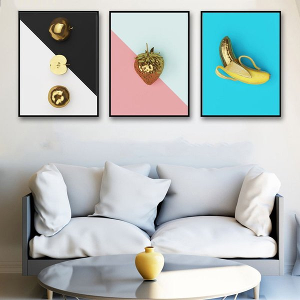 Simple Nordic Canvas Hd Art Wall Picture Creative Gold Apple Strawberry Banana Living Room Prints Painting Poster Home Decoration