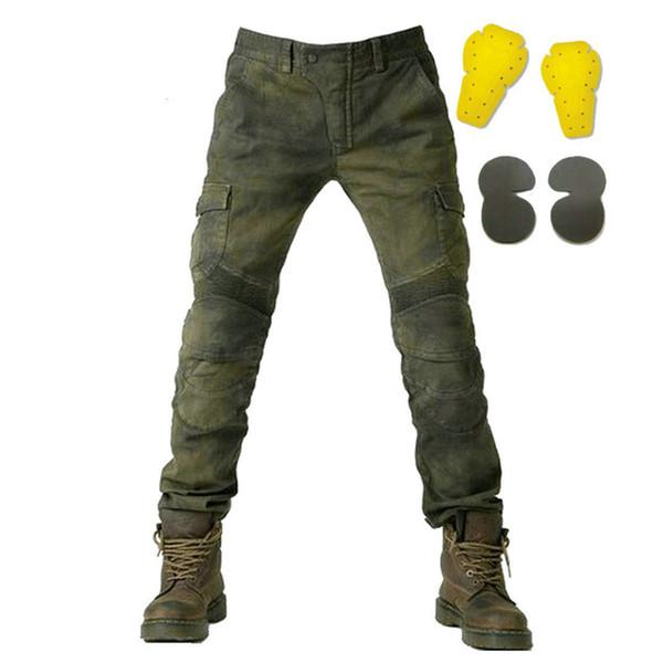 Ücretsiz kargo motosiklet kot pantolon rahat kot erkek motopool kot protetion dişliler yarış 4 parça ile rahat moto pantolon pantolon