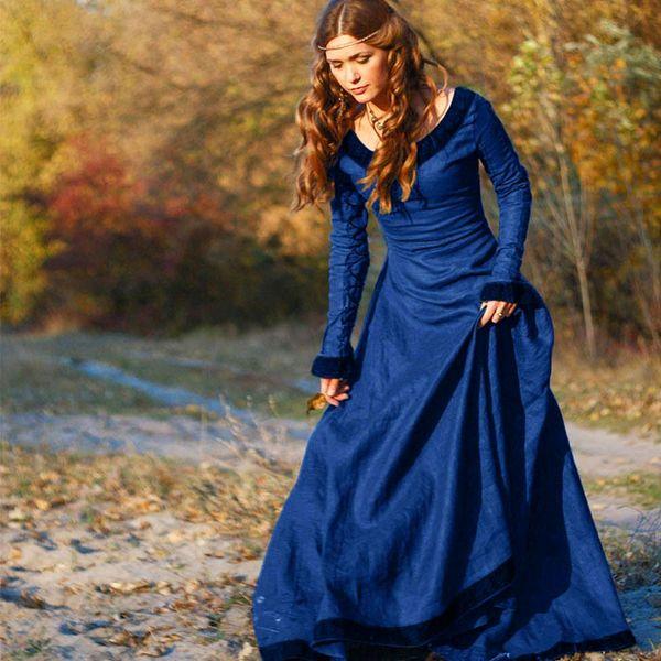 2018 Women Vintage Medieval Dress Costume Princess Renaissance Gothic Dress 5d57c9b8cd85