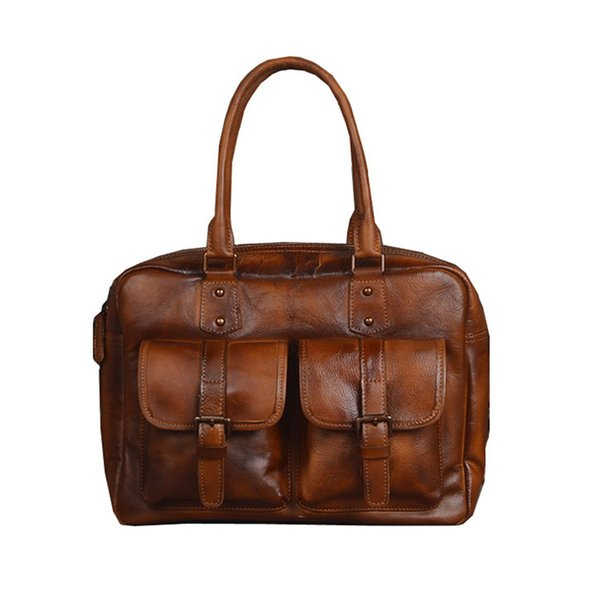 Handmade Men 100% Vegetable Tanned Genuine Leather Laptop Bag Hand Bag