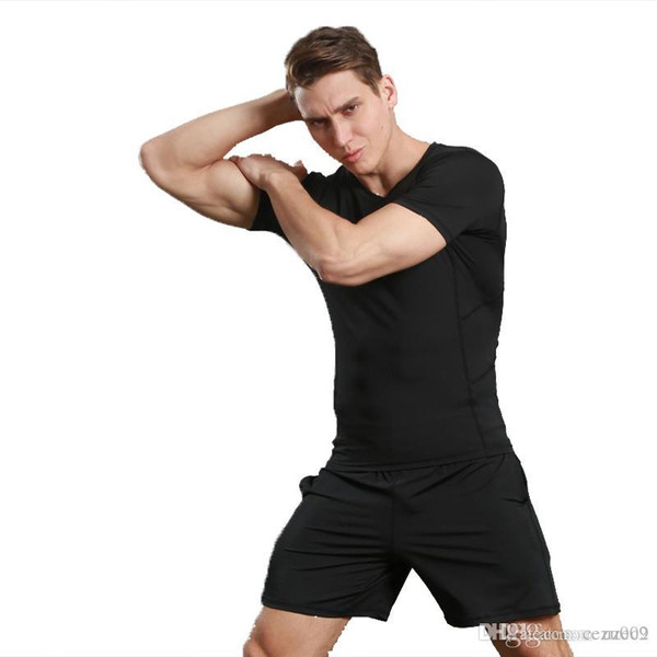 Black white new comfortable wide europe and the united tate olid color men jogging t hirt hort leeve port the choice