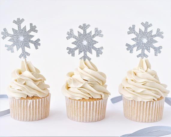 Compre Purpurina Copo De Nieve Cumpleanos Boda De Invierno Cupcake