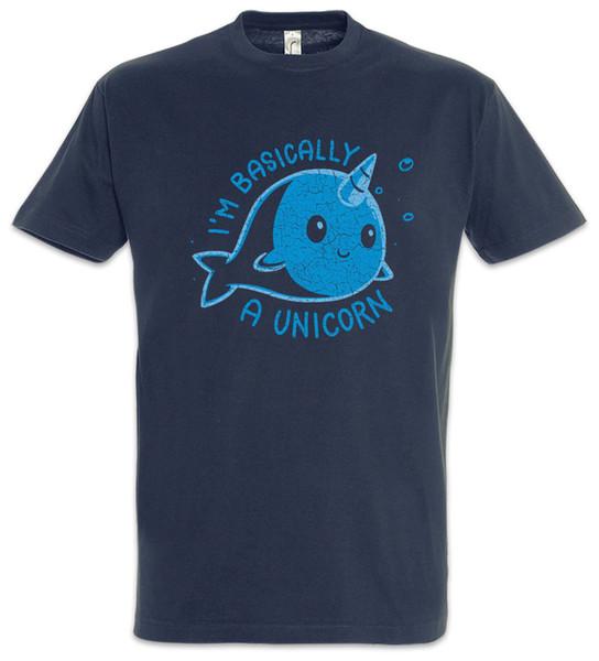 Básicamente, soy una camiseta de Unicornio Ballena Narwahl Diversión Cuerno Arco iris Hadas Divertido envío gratis Unisex Casual