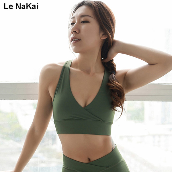 Le NaKai Deep V High Support Sports bra Open Back Mesh Yoga Bra Army Green fitness gym women's workout tank tops active wear
