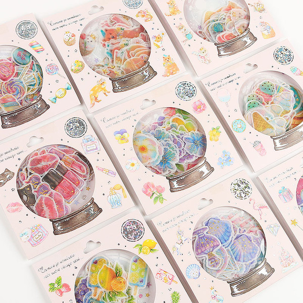 DIY 48 unids / pack Fantasy crystal ball Diario Papelería Pegatinas Decorativas Pegatinas Móvil Scrapbooking DIY Craft