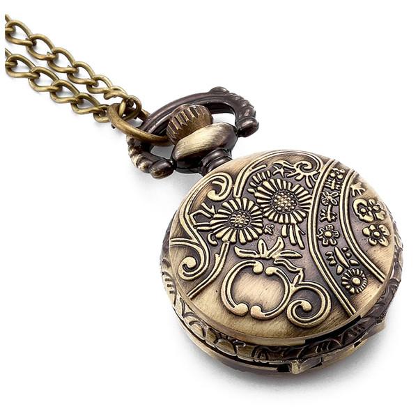 Chevaux Antique Médaillon Montre de poche à quartz cadran blanc chiffres arabes Collier chandail pleine