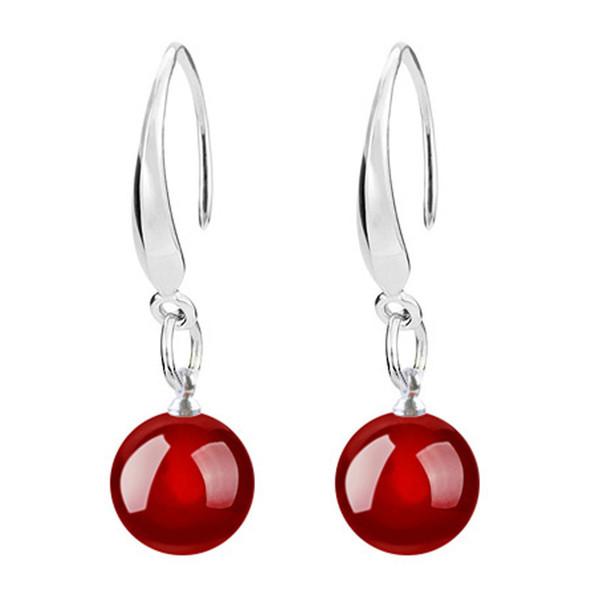 Earrings for Woman Fashion Jewelry Womens 925 Sterling Silver Beads Hook Dangle Earrings Gemstone Korean Earring Crystal Drop Earrings