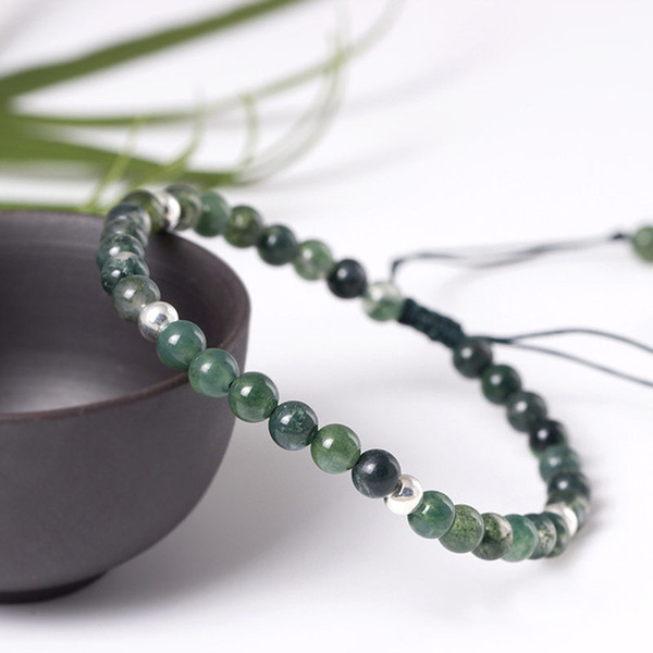 Natural Green Onyx Stone With Silver 925 Bead Bracelet Women 4.5mm Elegant Live Stone Sterling Silver 925 Jewelry For Women Gift