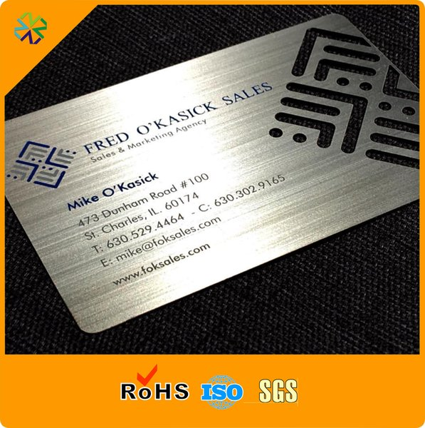 Carte en acier en métal à effet brossé matérielle en acier inoxydable CR80 avec impression de la soie et plaquée