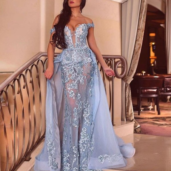 Dubai Mermaid Sexy Prom Dress With Overskirt Off Shoulder Sleeveless Lace Appliques Party Gowns Fashion Detachable Formal Evening Dress