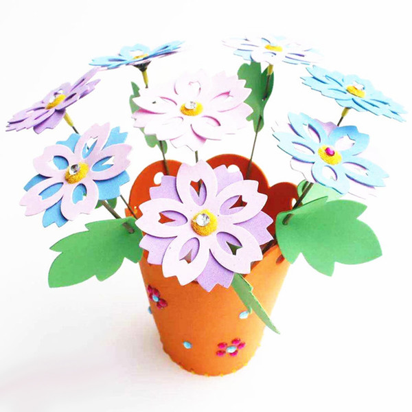 best selling Educational Children DIY 3D EVA Foam Flowerpot Home Decoration Personalized Jigsaw Toy Gift Kids Child Craft Puzzle Toy Kits