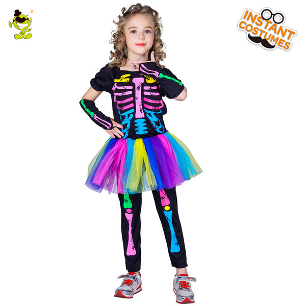 2018 Girls Colorful Skeleton Tutu Dress Children Halloween Party Costumes Fancy Dress Kids Horror Clothing For Carnival Party