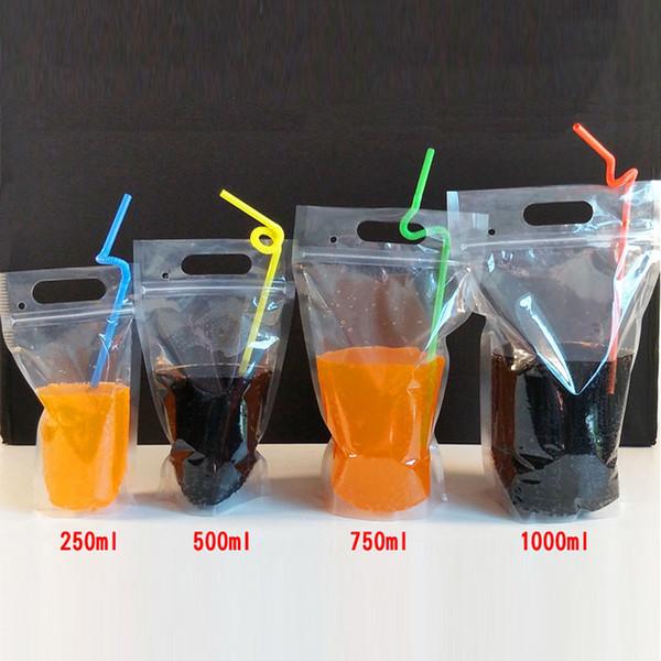 250ml,500ml,750ml,1000ml DIY Drinking Bag Fruit Juice Food Storage Bag Transparent Self-sealed Plastic Beverage Bag QW8773
