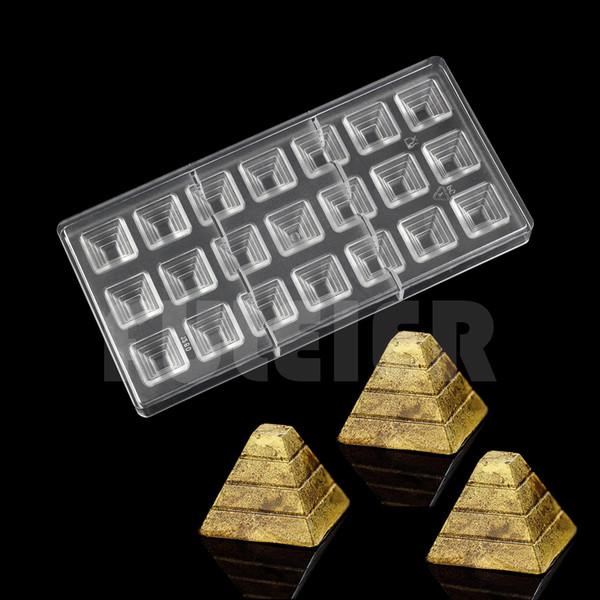 Pirámide 3D en forma de policarbonato molde de chocolate, cocina para hornear pc caramelo de chocolate molde pastelería pastelería herramientas para hornear
