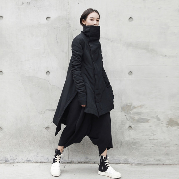 cakucool new dark black women mid long parka coon liner asymmetric slim winter coats stand collar slit outerwear parkas female