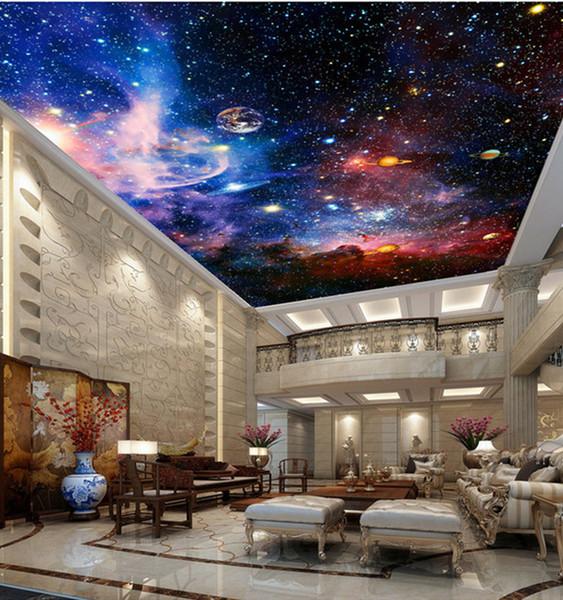 best selling Custom Murals 3D Star Nebula Night Sky Wall Painting Ceiling Smallpox Wallpaper Bedroom TV Background Galaxy Theme Wallpaper
