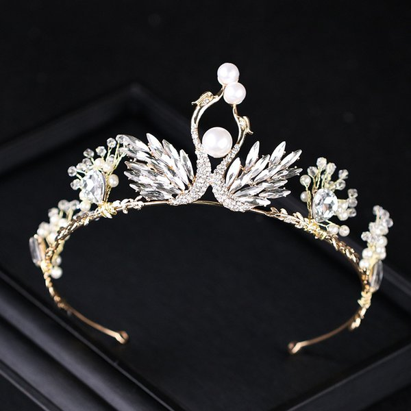 Trendy Pearl Swan Wedding Hair Accessories Gold Crystal Tiara Crown Wing Bridal Women Princess Diadem Rhinestone Hair Jewelry