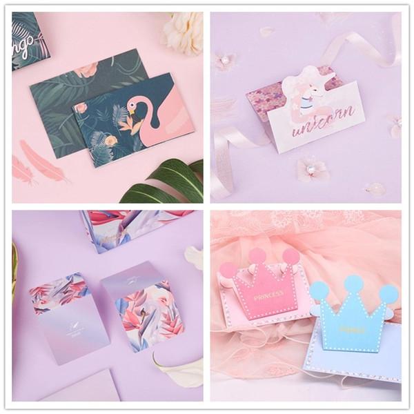 Compre Baby Shower Cartões Flamingo Unicórnio Coroa Cartão De