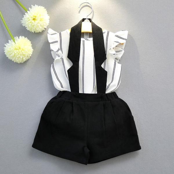 Baby girls kids Two Piece suit 2018 Korean Girls Short Sleeve Bib Tights Vest T-Shirt + Halter Bib Two Piece