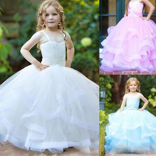 Pageant Flower Girl Dresses for Wedding Tiered Pink Bue Princess Tutu Gils Vintage Child First Communion Dresses Custom Made Free Shipping