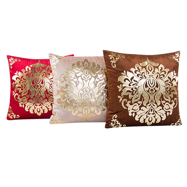 Bronzing Christmas Cushion Cover Gold Printed Pillow Cover Decorative Pillow Case Sofa Seat Car Pillowcase Soft
