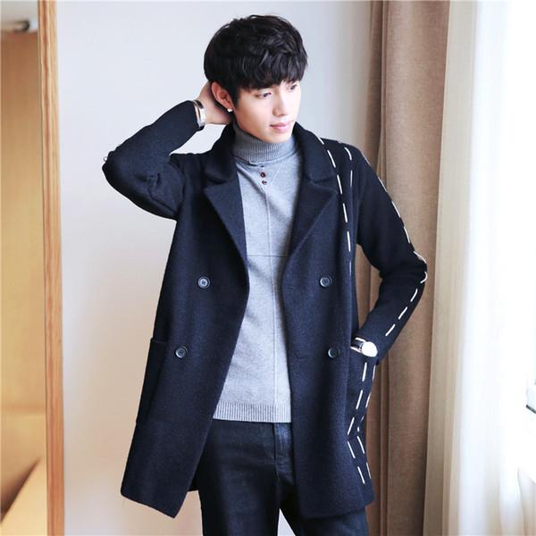 Новый стиль мужской лацкан шерстяное пальто осенью и зимой