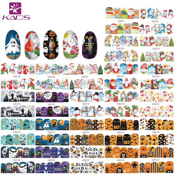 KADS 48 PCS Nail Decal Sticker Christmas Halloween Series Snowman Santa Claus Dreamcatcher Tips Nail Art Water Transfer Stickers