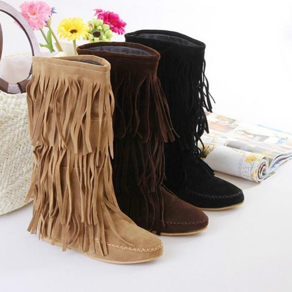 Women Boots New Brand Autumn Winter Boots Ladies Sexy Mid-Calf Snow Boots Sapatos Femininos Shoes Woman Big Size 34- 43