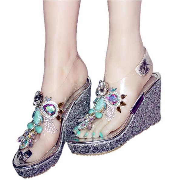 9975614b28a59 Fashion Transparent Wedges Sandals Crystals Gem High Heel Shoes Fringe Peep  Toe Women Sandal Summer Hot Selling Party Shoes