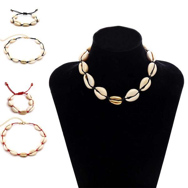 Beach Natural Shell Necklace Bracelet Jewelry Set Shell Chokers Gioielli di moda per donna Will e Sandy Drop Ship 380092