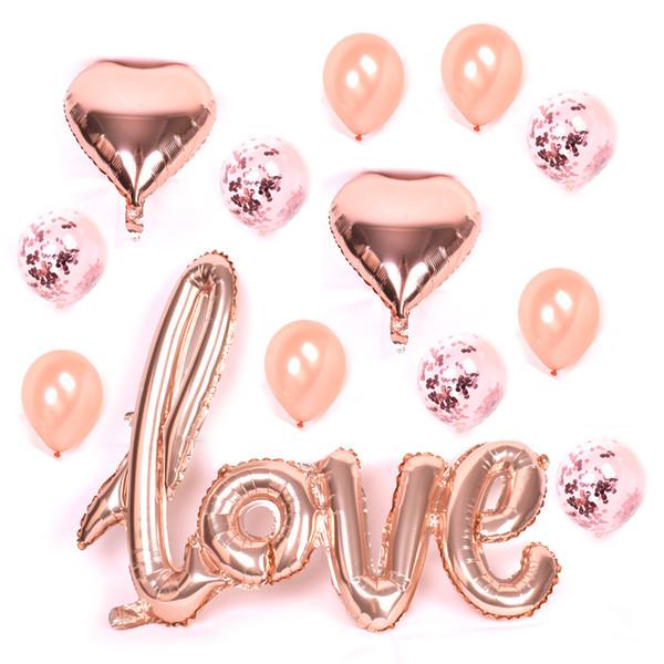 Large Rose Gold Love Letters Balloon Foil Glitter Confetti Balloon Transparent Emulsion Aluminium Film Stars Ballonnen Bruiloft Blue Balloon Helium