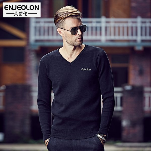 Compre Enjeolon Marca 2017 Suéter De Punto De Moda Suéter Hombre ...
