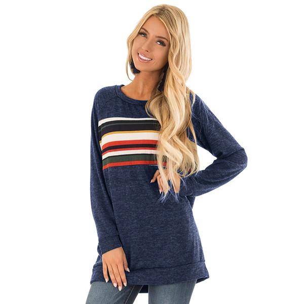 T-Shirt Frauen Mode Frauen Damen Langarm Splice T-Shirt Tops Kleidung T-Shirt Femme Roupas