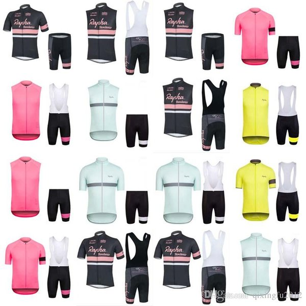 RAPHA team Cycling Short Sleeves Sleeveless jersey Vest bib shorts sets Mountain Bike Clothes High Quality Breathable Bikes Clothes E0704